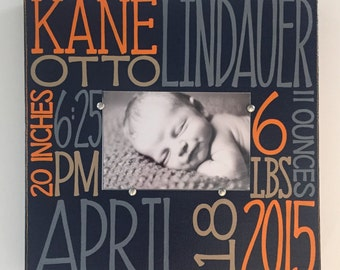 Baby birth information canvas frame