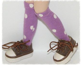 Tall Light Purple Socks With White Dots For Blythe...One Pair Per Listing...