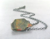 rustic stone necklace, jasper and sterling silver pendant