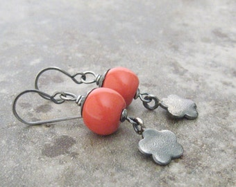 coral hue dangle earrings, kazuri dangle earrings, rustic sterling silver earrings