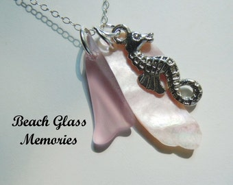 Lavender Sea Glass Jewelry Beach Glass Necklace Seahorse Strand Necklace