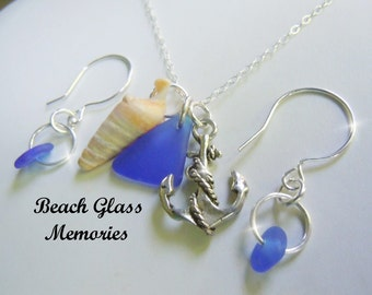 Set Blue Sea Glass Necklace Earring Sea Glass Jewelry- Beach Glass Pendant Jewelry