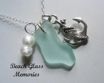 Sea Glass Necklace Light Aqua  Beach Glass Anchor  Necklace Seaglass Jewelry