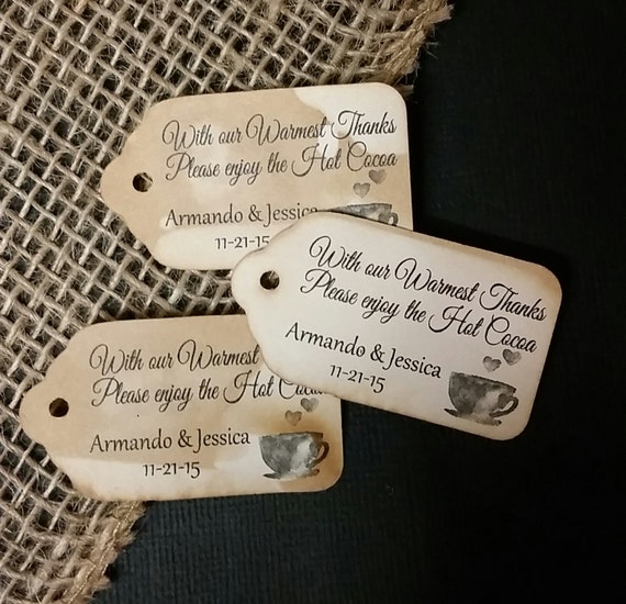 "Hot Cocoa with our Warmest Thanks Choose your quantity SMALL 2"" Favor Tag"
