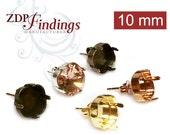 10pcs x Square 10mm Post Bezel Earrings Settings. fit Swarovski 4470 - Choose Your Finish (POSQ10V)