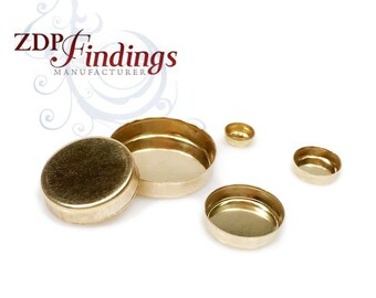 2-20pcs  14k Gold Filled (NOT PLATED) Cameo Base Bezel Cup Tray no Loop ,Choose your Size (RDVGF)