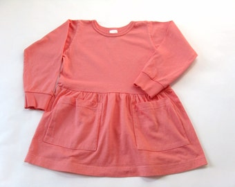 Pink Dress, Hand Dyed Two Pocket Long Sleeve Cotton  Dress, Blank Clothing, Toddler