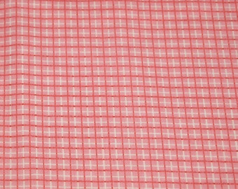 vintage 80s novelty floral print fabric, featuring cute pink and orangey-red plaid design, 1 yard