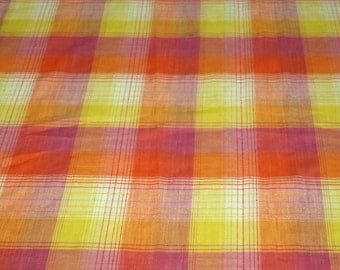 vintage 80s print fabric, featuring great pink, orange and yellow plaid design, 1 yard, 2 available, priced PER YARD