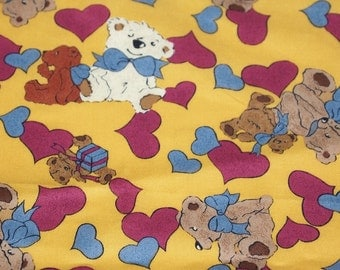"vintage 90s novelty print fabric, featuring adorable teddy bear and hearts motif, 45-1/2"" x 33"""