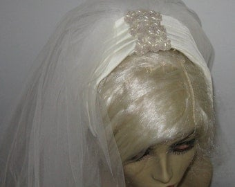 60s Beaded Bridal Veil . beaded headband veil .  Beaded white Headband . Headband Veil