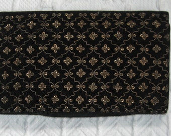 Silver Embroidered Clutch .  Genuine Silver Thread Clutch . black and silver clutch . silver thread embroidery