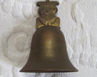 Vintage Brass Bell  . brass bell .  Aztec Brass Bell
