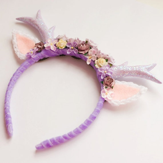 Purple Floral Deer Headband