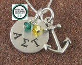 Alpha Sigma Tau Necklace with Anchor-Sterling Silver Sorority Greek Letter Jewelry-Big Sis Lil Sis-Alpha Sigma Tau Jewelry - OLP