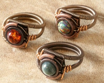 7th anniversary special sale - 3 Steampunk Rings - Custom Size