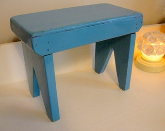 Bench Footstool Antique Aqua Chippy Robin's Egg Blue Seaside Cottage Small