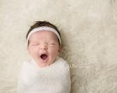 Braylee - Cream Ivory OR White Lace Pearls Halo Headband - Baby Infant Newborn Girls Adults - Photo Prop - Wedding Baptism