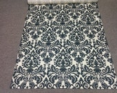 DAMASK AISLE RUNNER Waverly Onyx Black and  Ivory Indoor Outdoor  Wedding Bridal 25-45 Feet long