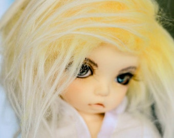 Akasarushi Ombre Yellow Color Fur Wig Made for abjd doll size SD MSD tiny yosd and puki