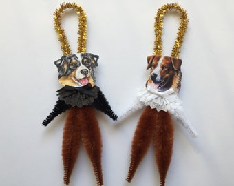AUSTRALIAN SHEPHERD ornaments dog ORNAMENTS vintage style chenille ornaments set of 2