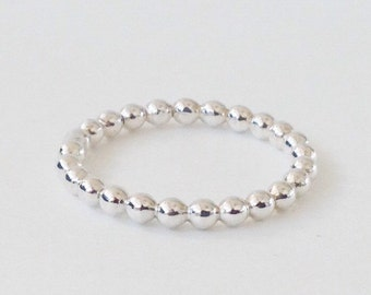 Handmade Beaded Sterling Silver Single Stacking Ring S6