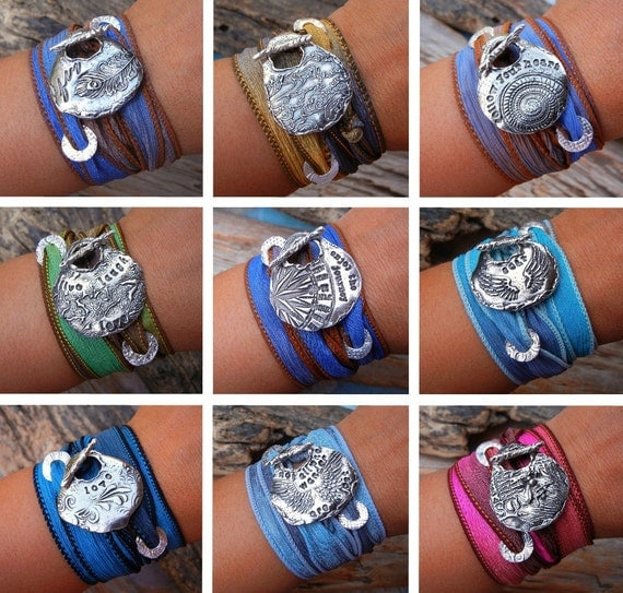 WHOLESALE Silver and Silk Wrap Bracelets by HappyGoLicky Jewelry, Hand Made STERLING Silver Jewelry Custom Silk Wrap Bracelets