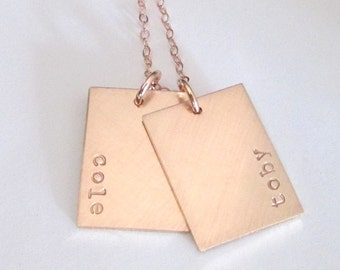 Rose Gold Tag Necklace   Gold Name Tag Necklace   Gold Dogtag Necklace   Rose Gold Name Necklace   Gold Dog Tag   Personalized Bar Necklace