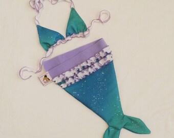 Custom ruffled mermaid tail and matching bikini top