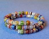 Multicolored Chevron Glass Bead Wrap Bracelet