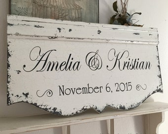 WOOD WEDDING SIGNS |  Bride and Groom Signs | Custom Signs | Personalized Signs | Family Name Signs | 29 x 14