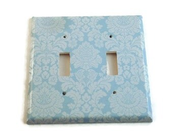 Double Light Switch Cover Wall Decor Switchplate Switch Plate in  Baby Blue Damask  (194D)
