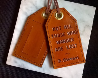Vertical - Not all those who wander are lost - quote with personalization - Leather Luggage Tag with Privacy Flap on Reverse Side
