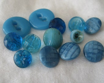 Lot of 13 VINTAGE Small Blue Glass BUTTONS