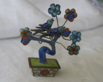 VINTAGE Small Enamel Pot of Flowers & Birds Figure for doll house