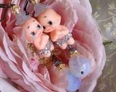 Lilygrace Crystal Vintage Kewpie Doll Earrings with Vintage Rhinestones and Opalite Beads