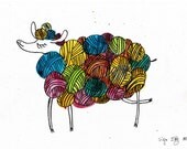 a4 ink drawing - knitting supplies painting -proud yarnball sheep