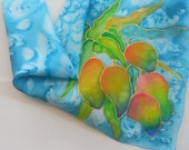 Hand Painted Silk Scarf Original - Mango Mangoes Tropical Fruit - Kauai Hawaii Hawaiian - Square Silk Scarf - Silk Scarves - Gifts for Her