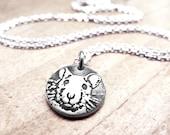 Tiny rat necklace, silver pet rat pendant, fancy rat memorial necklace, remembrance jewelry