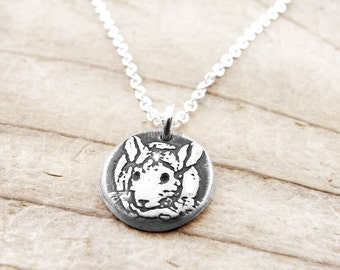 Tiny Chinchilla necklace, silver Chinchilla pendant,  Chinchilla memorial necklace, remembrance jewelry