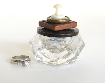 Maroon Brown Ring Box Salt Cellar Glass Vintage Button Lid