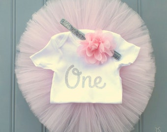 1st Birthday Outfit, Pink and Silver First Birthday Outfit, Cake Smash Outfit, 1st Birthday Tutu, First Birthday Tutu, Pink Tutu, Tutu Skirt