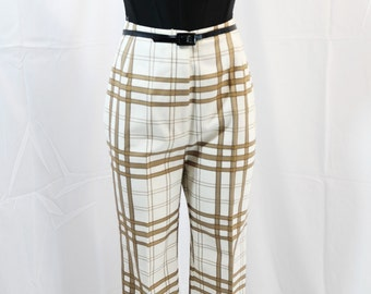 vintage | 50s 60s pin up rockabilly ivory plaid high waist clam diggers pants