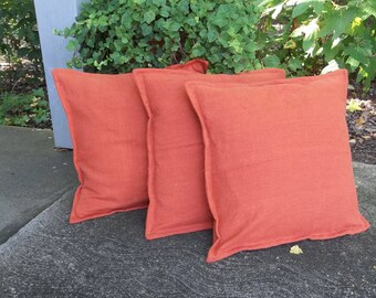 """3 Rust Orange Linen Pillows Set Fall Throw Pillow Covers Decorative Pillows French Country Farmhouse Bedroom Pillows 20"""""""