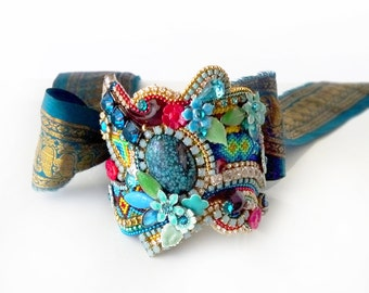 STATEMENT FRIENDSHIP CUFF - Garbo - one of a kind bracelet - vintage Indian sari ribbon - glamorous collage cuff - turquoise, red, green