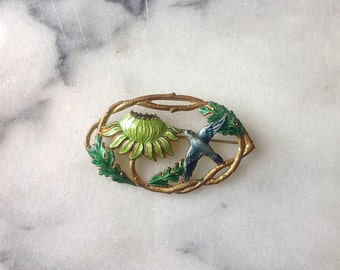 Vintage 1940s Enamel Brooch. Bird and Flower.