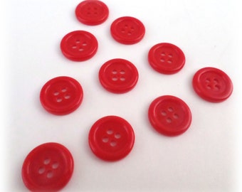 10 Red Vintage 4 Hole Buttons