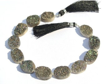8 Inches Sparkling Titanium Coated Gray Druzy Oval Briolette Size 16x12 - 17x13mm approx Druzy Oval Beads, Druzy Briolette