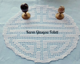 Feng Shui Harmony Balance Energy Filet Crochet Doily