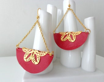 Red leather earrings fan crescent half circle